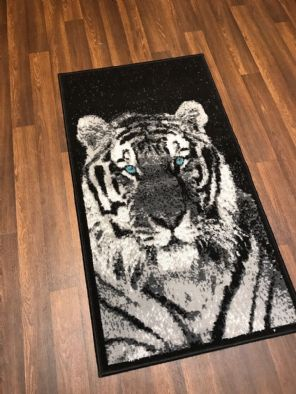 Modern Approx 4x2 60x110cm Woven Top Quality Tigers Rugs/Mats Black/Silvers